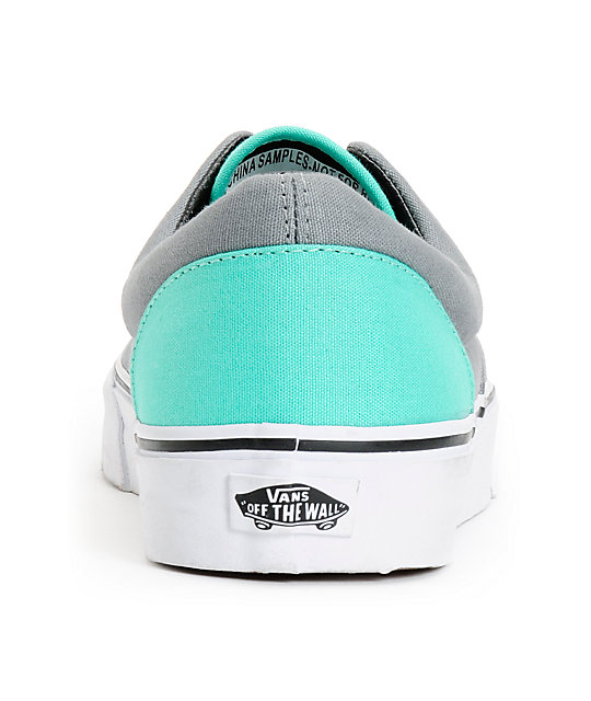 e50a10fa6d ... Vans Era Grey   Electric Green Canvas Skate Shoes ...