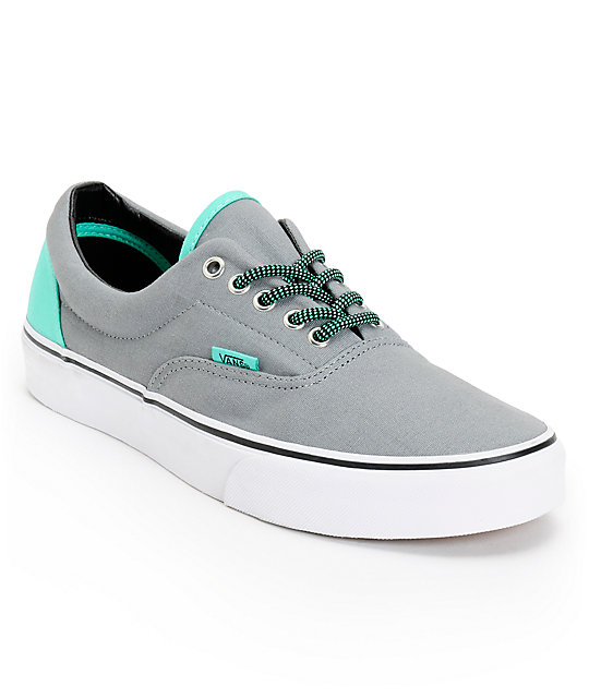 Vans Era Grey & Electric Green Canvas Skate Shoes ...