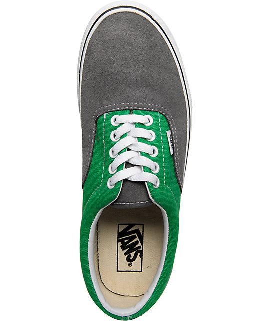 Vans Era Grey Suede Amp Green Skate Shoes Zumiez