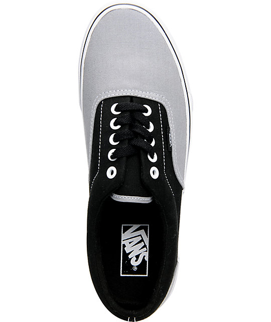 Vans Era Light Grey & Black Two-Tone Canvas Skate Shoes