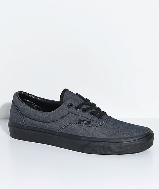 4093302729 Vans Era Mono Black Chambray   Black Shoes