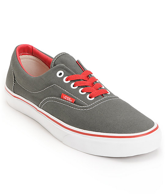 Vans Era Pop Charcoal & Red Canvas Skate Shoes