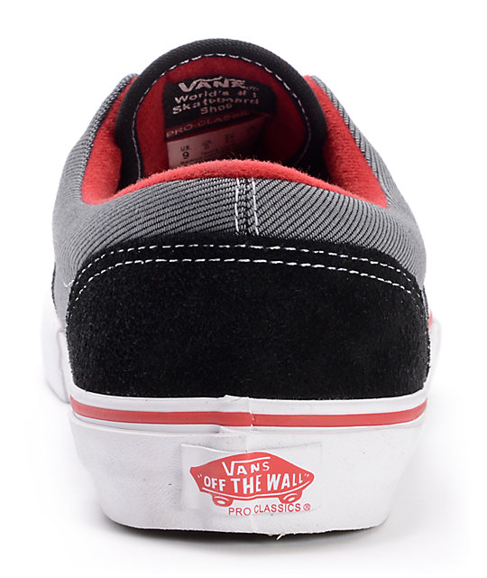 12d0077971932b ... Vans Era Pro Black Twill   Scarlet Skate Shoes ...