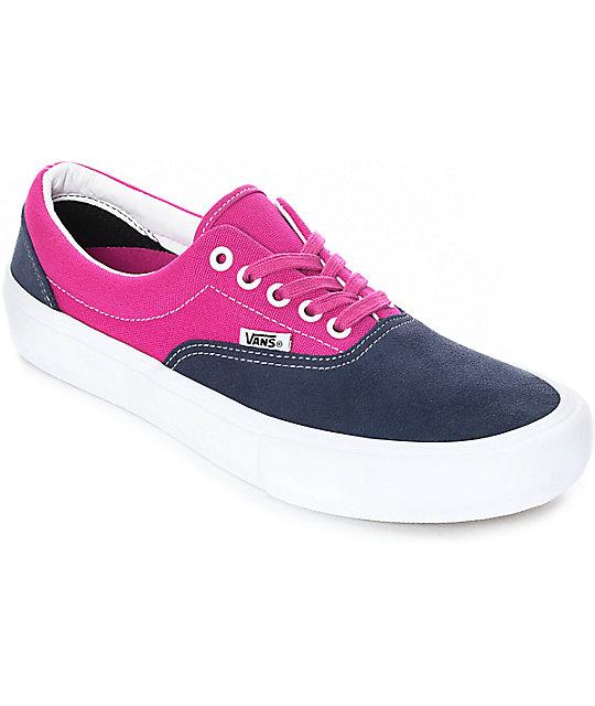 4a9280b7e0 Vans Era Pro Navy   Fuchsia Skate Shoes