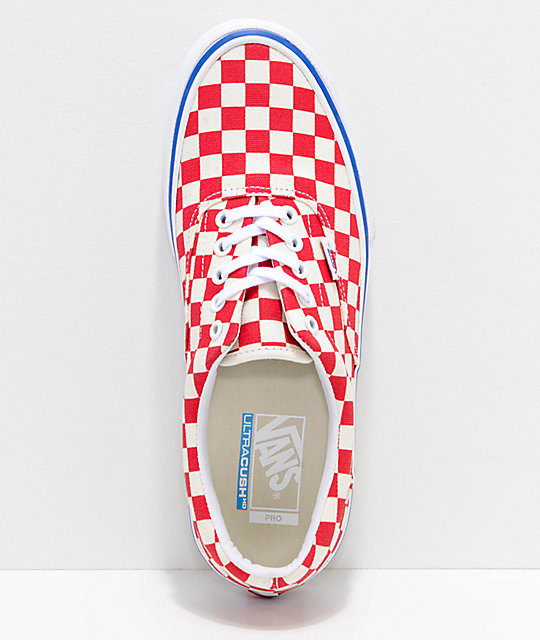 ... Vans Era Pro Rococo Red   Off-White Checkered Skate Shoes ... 43a7b0f0a