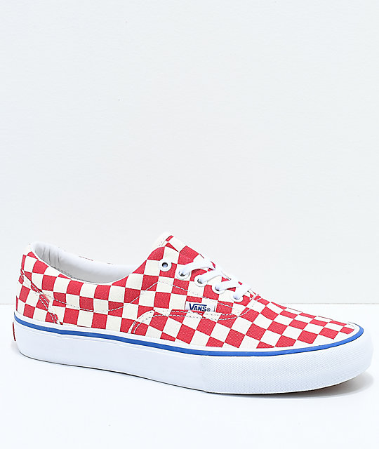 Vans Era Pro Rococo Red & Off-White Checkered Skate Shoes