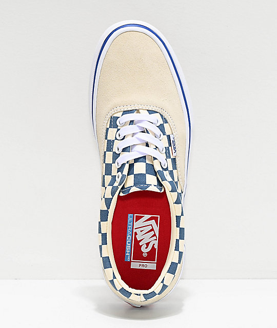 Vans Era Pro White & Blue Checkerboard Skate Shoes