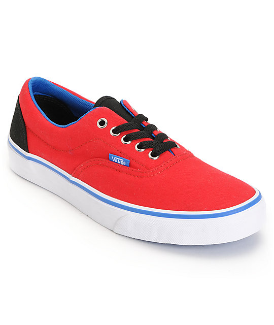 vans era blue and red