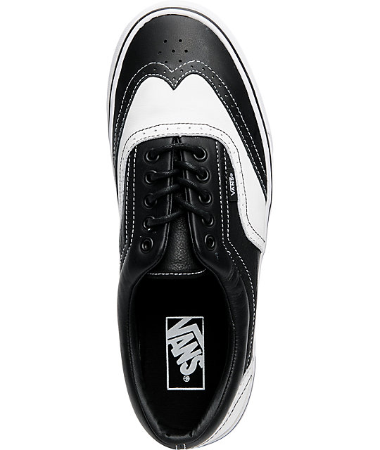 Vans Era Wingtip Black & White Leather Skate Shoes