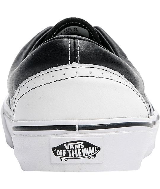 vans era wingtip black & white leather skate shoe
