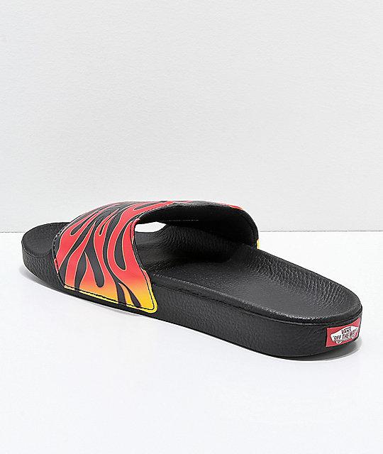 a08c6a1d0ee8 ... Vans Flame Black Slide Sandals ...