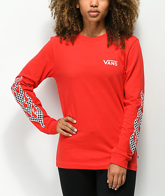 Vans Flame Checkerboard Red Long Sleeve T-Shirt
