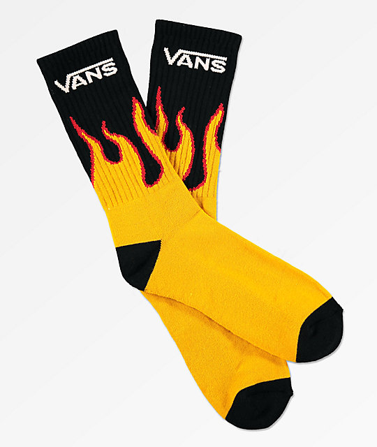 Vans Flames Black & Gold Crew Socks