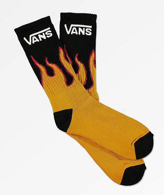 Vans Flames Black Crew Socks