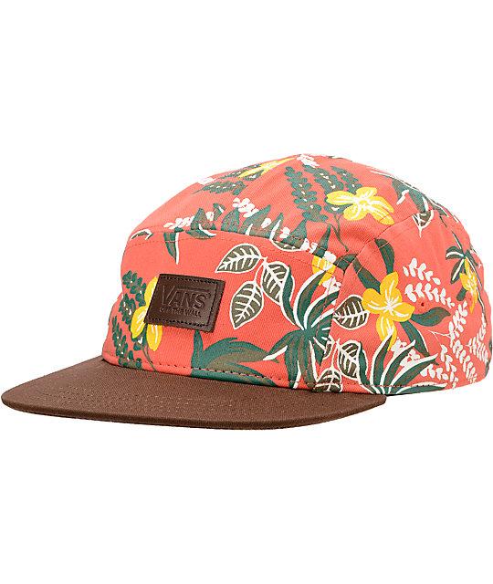 Vans Floral Print Coral 5 Panel Hat  b9f1a828073