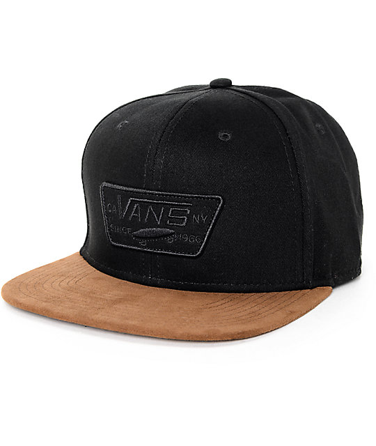 Vans Full Patch Black Twill   Brown Suede Snapback Hat  ff1acdfa740