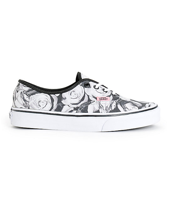 0abacef84e ... Vans Girls Authentic Digi Roses Black   White Shoes