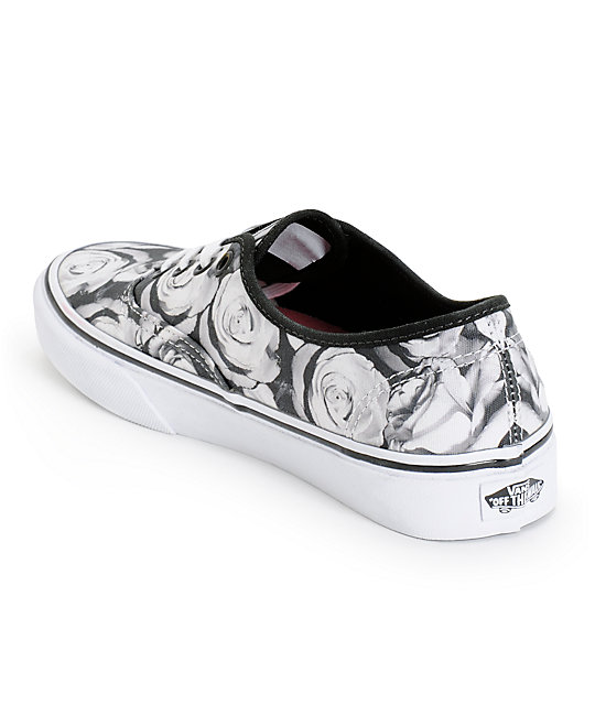 fd84cc2e8e ... Vans Girls Authentic Digi Roses Black   White Shoes ...