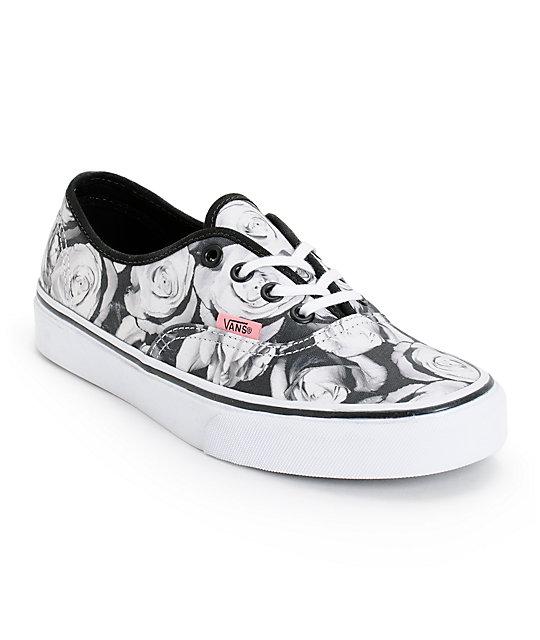 Vans Girls Authentic Digi Roses Black & White Shoes ...