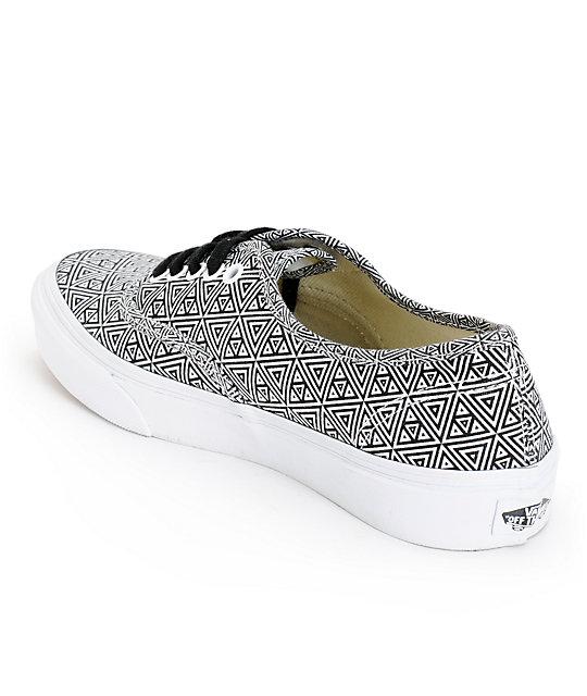 849df35d99 Vans Girls Authentic Slim Black   White Geo Print Shoes