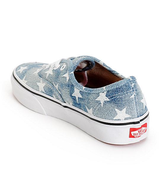 Vans Girls Authentic Washed Stars Blue Shoes   Zumiez