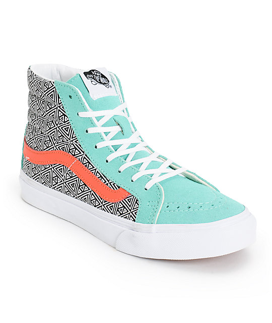 e95884b1d8 Vans Girls Sk8-Hi Slim Geo Cockatoo   Hot Coral Skate Shoess