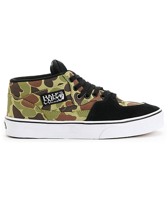 Vans Half Cab Camo & Black Skate Shoes