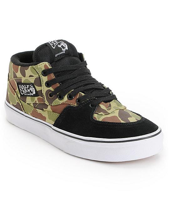 Vans Half Cab Camo & Black Skate Shoes