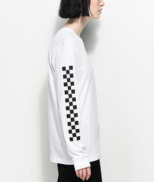 9bf6707c0 Vans Half Checked Long Sleeve White T-Shirt | Zumiez.ca