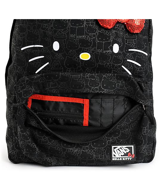 cdc343c57df Vans Hello Kitty Blueprint Black Backpack | Zumiez