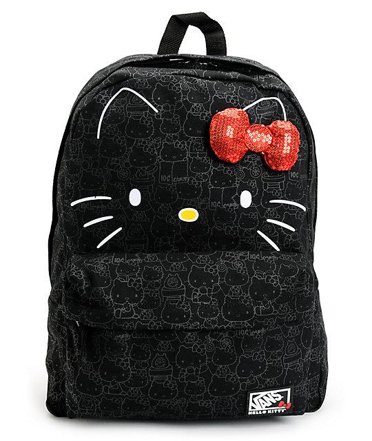 f022227ddcc6 Vans Hello Kitty Blueprint Black Backpack