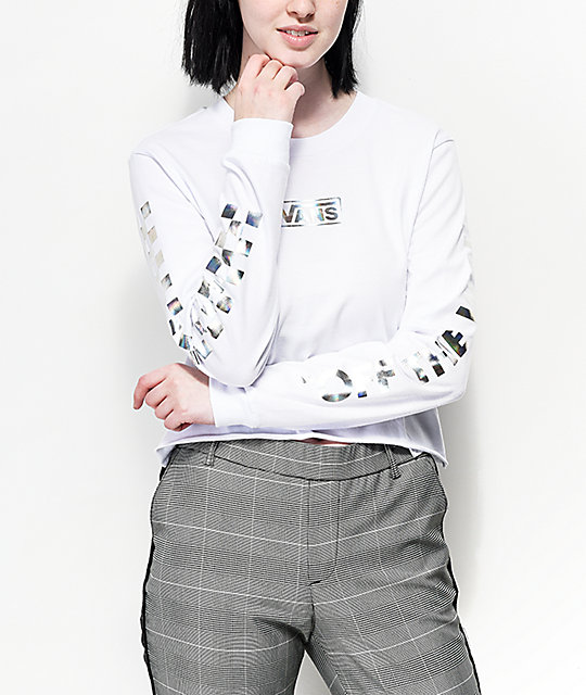 Vans Iridescent Box White Long Sleeve Crop T-Shirt