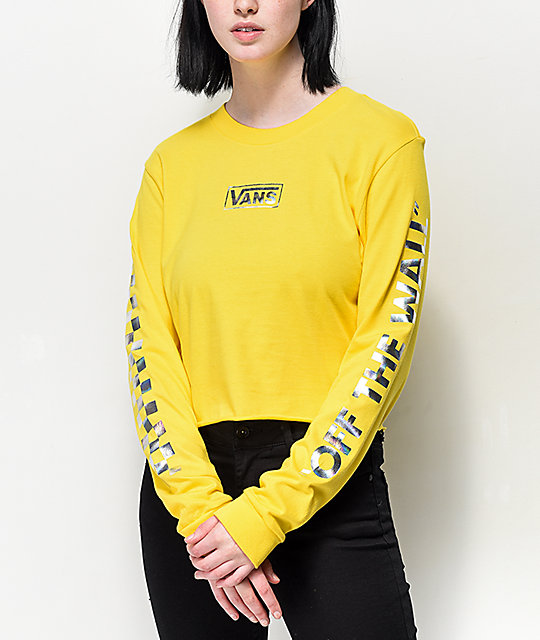 25898ec144b081 Vans Iridescent Box Yellow Long Sleeve Crop T-Shirt | Zumiez