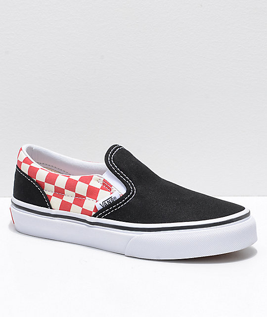 vans classic slip on red and black