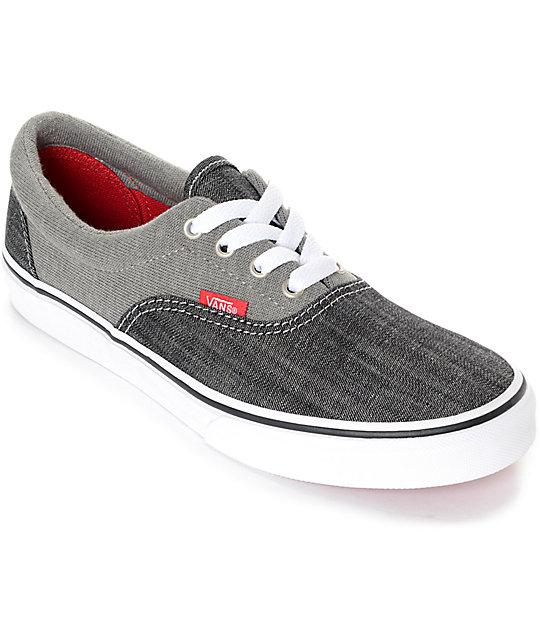 Vans Kids Era Racing Red, True White, Jersey \u0026 Denim Skate Shoes