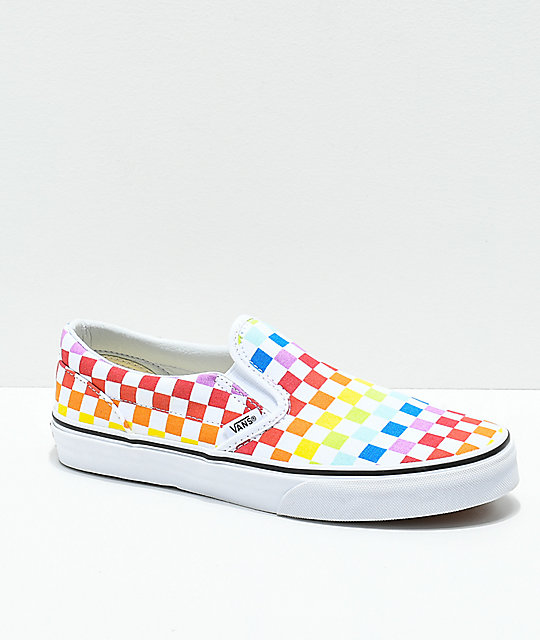 f72b92bfe714 Vans Kids Slip-On Rainbow Checkerboard Skate Shoes