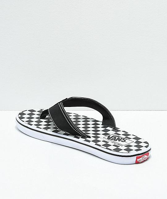31122b84462cd8 ... Vans La Costa Checkerboard Black   White Sandals ...