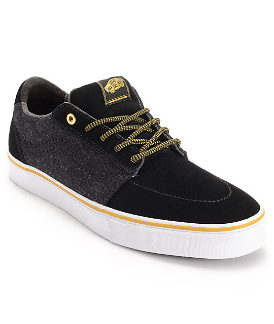 Vans Lindero Black Wool & Suede Skate Shoes