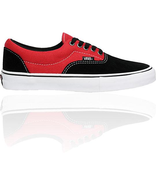 Vans Lo Pro Era Black   Tuff Red Skate Shoes  3fe293de42