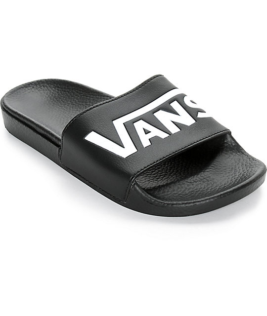 211ffcba994 Vans Logo Black   White Slide-On Sandals