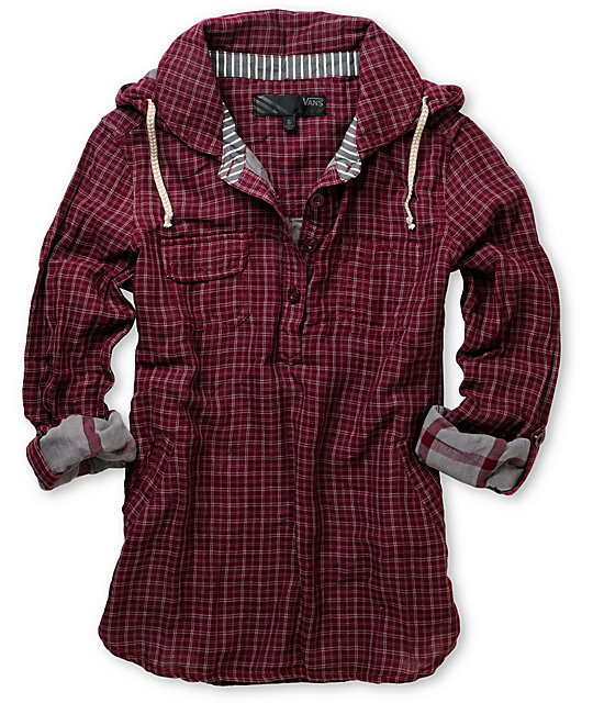 Vans Mad Dash Oxblood Woven Hooded Pullover Shirt