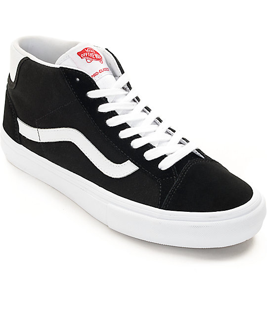 934449ed42 Vans Mid Skool Pro Black   White Skate Shoes