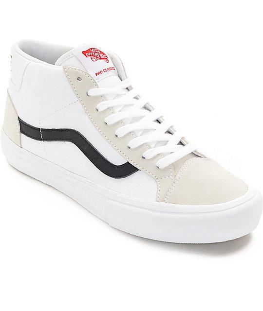 50efc9c761a Vans Mid Skool Pro White   Black Skate Shoes