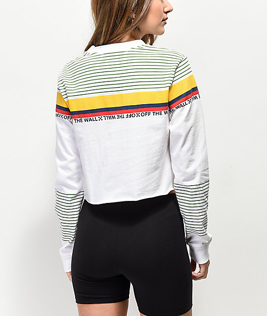 Vans Multicolor Stripe White Crop Long Sleeve T-Shirt