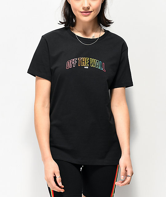 Vans OTW Red Rose Black Boyfriend T Shirt | Rose t shirt