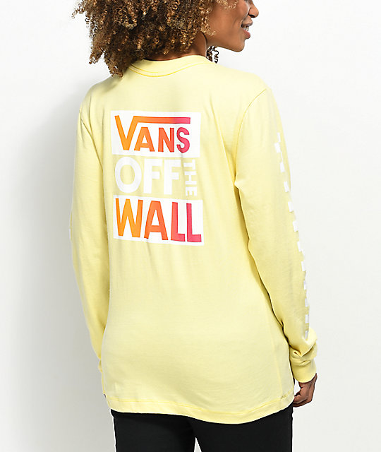 ee372e0719 Vans OTW Pale Yellow   Pink Long Sleeve T-Shirt