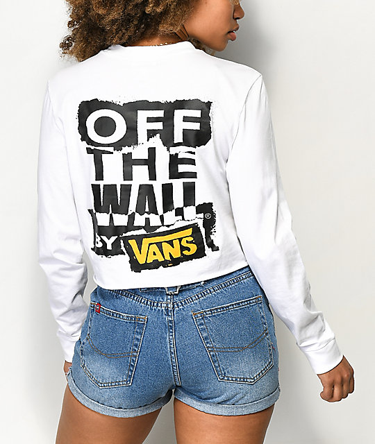 fa7e7f8135 Vans OTW Ripped White Long Sleeve Crop T-Shirt