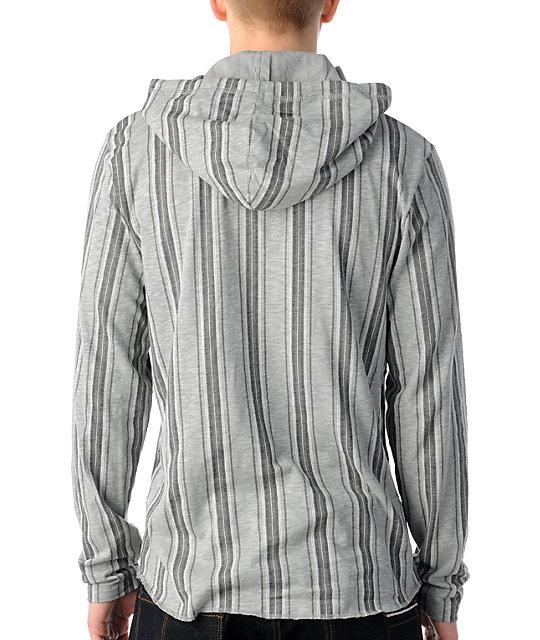 c6cab4dd Vans Occulta Grey Striped Hooded Henley Shirt | Zumiez