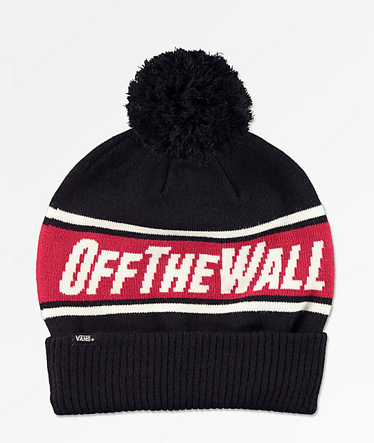 Vans Off The Wall Black &Amp; Chili Red Pom Beanie by Vans