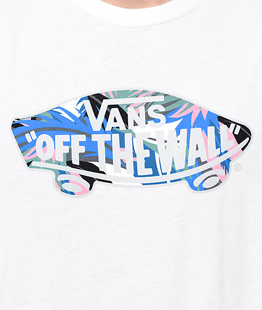 417ca61a4f ... Vans Off The Wall Logo Floral Fill White T-Shirt